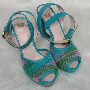 Missoni leather high heeled sandals teal green 37